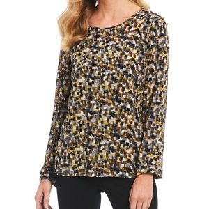 INVESTMENTS Long Sleeve Tiled Button Sleeve Blouse